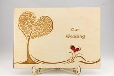 Customized Rustic Wooden Wedding Photo Album with finely laser-cut the love tree…