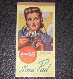 1940s-Vintage-Coca-Cola-WWII-WW2-Ad-Telephone-Operator-Lady-Card-Game-Score-Pad