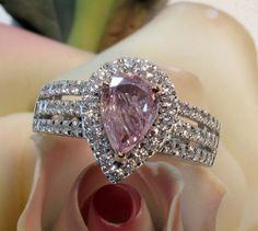 RARE Natural 'Fancy Intense Purplish-Pink' Diamond Engagement Ring
