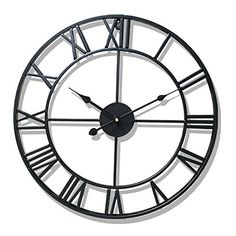 New Circular Retro Roman Wrought Hollow Iron Vintage Large Mute Decorative Wall Clock On The Wall Decoration For Home Large Vintage Wall Clocks, Large Clock, Big Wall Clocks, Kitchen Wall Clocks, Room Kitchen, George Nelson, Vintage Metal, Retro Vintage, Vintage Style