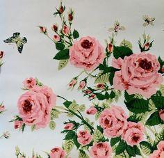 vintage 1960s wallpaper inez croom roses waterville wallcoverings