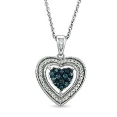 Zales 1/7 CT. T.w. Enhanced Blue and White Diamond Frame Heart Pendant in Sterling Silver UJZhh