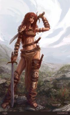 Red Sonja by Caleb Souza, aka c-a-s Fantasy Warrior, Fantasy Girl, Chica Fantasy, Warrior Girl, Fantasy Rpg, Fantasy Women, Warrior Princess, Fantasy Artwork, Warrior Women