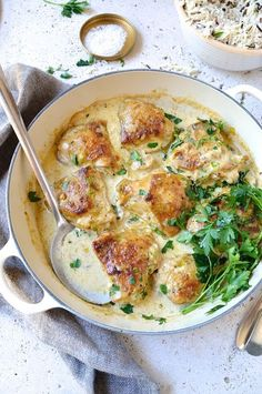 Chicken and leek casserole with a creamy white wine and mushroom sauce - simple and delicious family favourite and Banting friendly midweek supper!