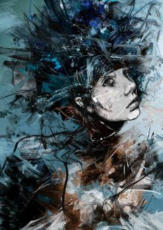 art_Russ Mills /She's proof that you can walk through hell and still be an Angel. Abstract Portrait, Portrait Art, Psychedelic Art, Amazing Drawings, Art Drawings, Illustrations, Illustration Art, Dark Art Paintings, Dark Artwork