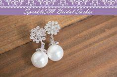 Pearl Rhinestone Bridal Earrings Crystal Bridal by SparkleSM