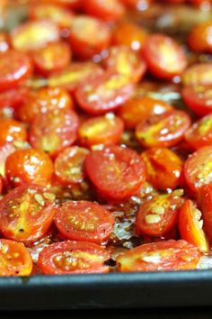 These balsamic roasted cherry tomatoes are so sweet and juicy you won't be able to stop eating them right off of the baking sheet!
