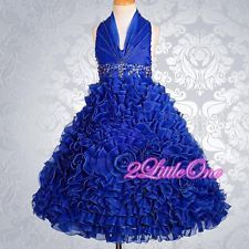 Embossed Flower Girl Halter Dress Wedding Pageant Party Blue Size 8-10 #148