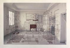 Interior I - Dibujo sobre impresión digital - 116x76 cm -2017