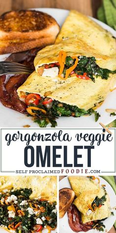 Start your morning with a healthy protein and vitamin packed breakfast. This tasty 3-egg Gorgonzola Veggie Omelet is packed with kale, peppers, and onion. #omelet #omelette #gorgonzola #kale #peppers #onion #recipe #easy