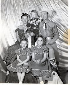 Roy Rogers, Dale Evans, and Family Photograph i love it, sometime in the late 50's, maybe early sixtys, i was seated next to Roy and Dale in a Broadway theater.. thrilled sure, but i was amazed at how weather beaten Roy was, but a hero none the less.