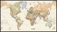 Legacy World Wall Map by GeoNova from MapSales.com - The leading source for your Legacy World Wall Map! For great room upper wall idea.