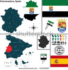 Vector map of region of Extremadura with coat of arms and location on Spanish map Vector Map, Coat Of Arms, Flags, Spanish, Royalty Free Stock Photos, The Unit, Illustration, Pictures, Peace Dove