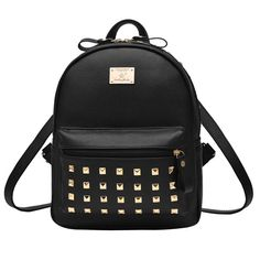 How nice Punk Splicing Color Blocking Square Girl's Backpack School Rivets PU Travel Backpack  ! I like it ! I want to get it ASAP!