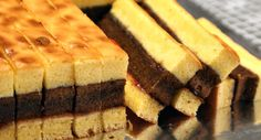 Lapis Surabaya is a 3 layered cake – Three batter mixes are prepared, two with naturally produced yellow colour, the other mixed with cocoa powder to produce a dark brown colour. Lapis Surabaya, Batter Mix, Indonesian Cuisine, Food Tasting, Sponge Cake, Desert Recipes, Cakes And More, Cake Recipes, Deserts