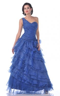 BallGown One Shoulder Organza Floor-length Royalblue Quinceanera Dress