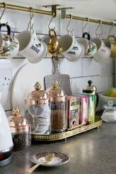 Glam DIY Bread Bin and My New Ruffoni Jars – Swoon Worthy – diy kitchen decor Coffee Bars In Kitchen, Coffee Bar Home, Home Coffee Stations, Coffee Corner, Coffee Cozy, Coffee Scrub, Hot Coffee, Tea Station, Diy Kitchen Decor