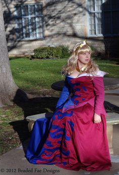 Princess Aurora's Pink and Blue Splashed Birthday Dress from Sleeping Beauty: Custom Adult Costume. $800.00, via Etsy.