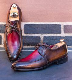 Paul Parkman Brown & Bordeaux Dual Tone Apron Derby Shoes (ID Best Shoes For Men, Shoes Men, Bordeaux, Gents Shoes, Square Pants, Party Suits, Derby Shoes, Leather Belts, Custom Shoes