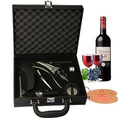 Yobansa Cuir PU Box 9pièces accessoires du vin Coffret cadeau, lapin Vin Décapsuleur avec support: 9pièces d'accessoires inclus: lapin…