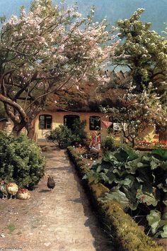 Watering The Garden, Oil by Peder Mork Monsted (1859-1941, Denmark)