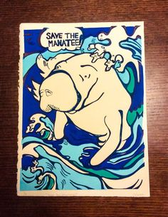 Save the Manatee  by TurquoiseReflection on Etsy