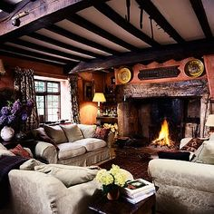 I love the rustic features. Would love to put my own spin on this room. Lovely as is though.