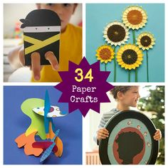 34 Awesome Paper Crafts for Kids going to most of these this summer with the girls. Summer Crafts For Kids, Paper Crafts For Kids, Projects For Kids, Art For Kids, Craft Projects, Cute Crafts, Crafts To Do, Magazine Crafts, Paper Crafts Origami