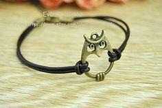 owl braceletretro bronze lovely owl pendant by Evanworld on Etsy, $1.50