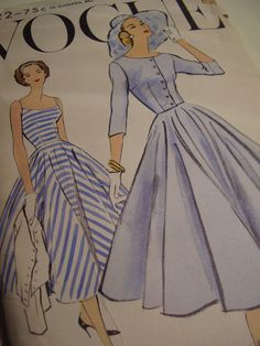 1950's Vogue 9222 Dress and Jacket Sewing Pattern
