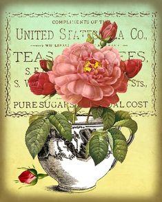Antikes Teetassen und Rosen digitale Collage Sheet von GalleryCat