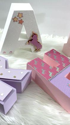Unicorn Birthday Decorations, Unicorn Birthday Parties, Birthday Diy, Diy Gift Box, Diy Gifts, Diy Letters, Paper Flowers Diy, Diy For Kids, Crafts