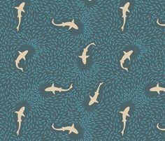 Sharks in a School (dark blue and beige) fabric by pleco on Spoonflower - custom fabric