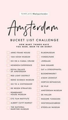 Top things to do in Amsterdam - Amsterdam Bucketli. - Top things to do in Amsterdam - Amsterdam Bucketli. Travel Checklist, Travel List, Travel Europe, Travel Goals, Holiday Checklist, Euro Travel, Shopping Travel, Backpacking Europe, Greece Travel