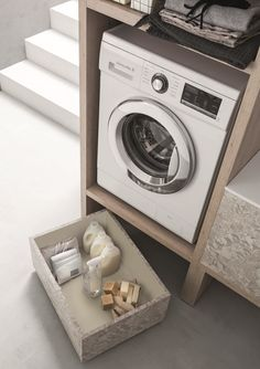 There are many accessories available that enrich the open shelving units structures fully satisfying every need. Open Shelving Units, Laundry Room Design, Bath Decor, Bath Design, Bathroom Furniture, Interior Styling, Home Appliances, Accessories, Laundry Room