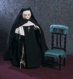 Lady Dolls of the 19th Century: 131 Wood Prie-Dieu With Silk Upholstery for…