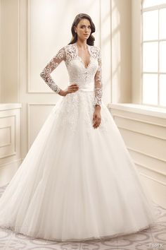 eddy k bridal 2016 illusion long sleeves sweetheart ball gown wedding dress (ek1072) mv traditional romantic