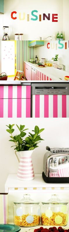 How to washi tape your kitchen - so many great ideas for decorating!