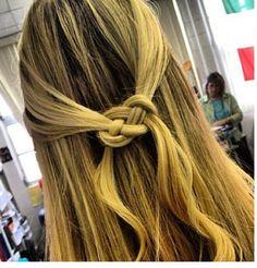 Pretzel braid, half up half down