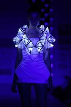 Elegant and sophisticated wearable technology from cutting edge fashion designers Pankaj and Nidhi. Their  glowing geometric dress from the SS12 show at Wills Lifestyle India Fashion Week.  More on their website pankajnidhi com.