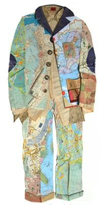 East West Home is Best ~ Garment collage by Peter Clark ~ Peter uses a comprehensive collection of found papers as his palette which are coloured, patterned or textured by their printed, written or worn surfaces, with this media he 'paints' his collages. He shades with density of print and creates substance and movement with lines plucked from old maps or manuscripts.