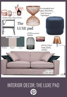 Interiors ideas and tips. How to style an affordable sofa to look more expensive. Luxury styling ideas for the living room. Work with a DFS sofa to create a luxurious scheme. Pink sofa CHALK and farrow and Ball peignoir paint, velvet pouf from normans Copenhagen and copper Pols Pottenside table.