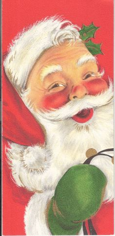 Vintage Hallmark Slim Jim Christmas Card - Santa with Bells