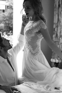 lihi hod wedding dresses 2015 bridal gown cap sleeves deep v neck lace embroidered bodice a line dress style tamara side view