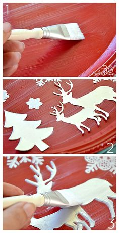 DIY Christmas Decoupage Platter Tutorial at Let it snow! All Things Christmas, Winter Christmas, Christmas Holidays, Christmas Decorations, Christmas Colors, Christmas Projects, Holiday Crafts, How To Make Snowflakes, Paper Snowflakes