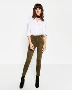 Image 1 of HIGH-WAISTED RIPPED TROUSERS from Zara