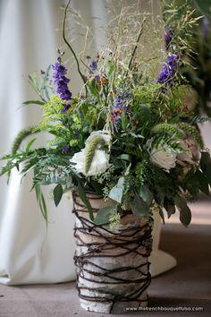 Twine and Birch Bark Vase for Large Rustic Floral Arrangement