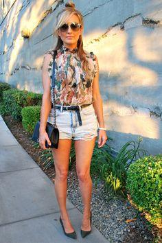 Zimmerman high neck top, Topshop denim shorts, Manolo Blahnik suede pumps, San Diego fashion blogger