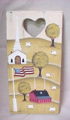 Hand Painted Primitive Plaque, Saltbox, Sheep, Church Scene. $19.00, via Etsy.