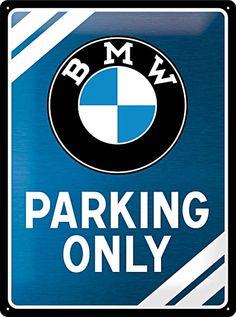 BMW - Parking only blue Blechschild, 30 x 40 cm, gewölbt & Motiv geprägt